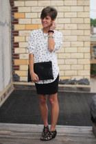 white shirt - black Call it Spring shoes - black bag - black skirt