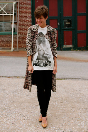 beige leopard print jacket - black pants - tan heels