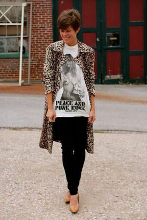 beige leopard print jacket - black pants - tan heels