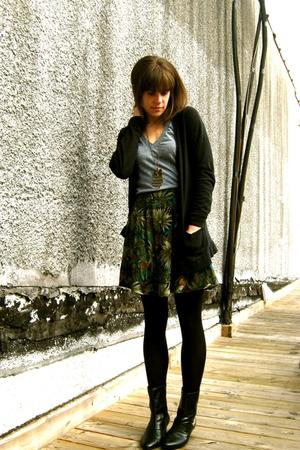 vintage boots - Target cardigan - vintage skirt - American Apparel t-shirt