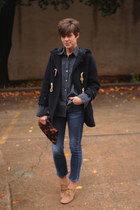 navy toggle Ralph Lauren coat - tan H by Hudson boots - Gap jeans