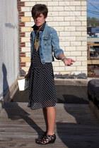 black polka dot dress - sky blue Levis jacket - black Call it Spring sandals