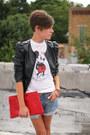 Black-faux-leather-h-m-jacket-red-bag-levis-shorts