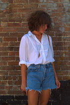 thrifted blouse - vintage levis cutoffs shorts