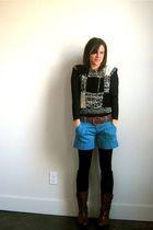 vintage boots - vintage belt - Express shorts - vintage sweater - Forever 21 shi