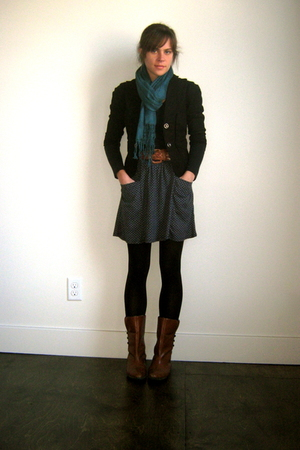 vintage belt - Lux blazer - Forever 21 shirt - UO skirt - UO scarf - vintage boo