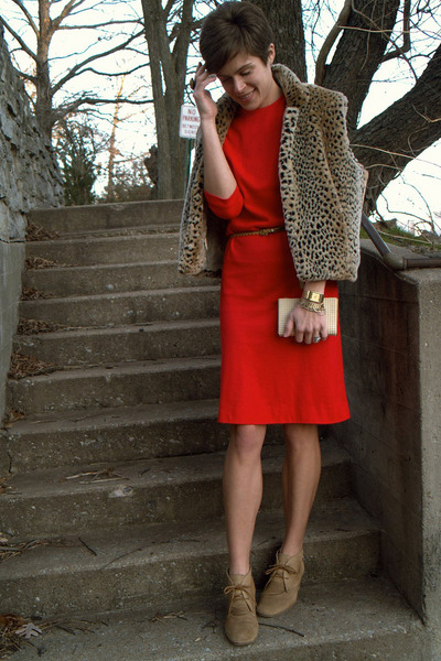 ruby red vintage dress - light brown H by Hudson boots
