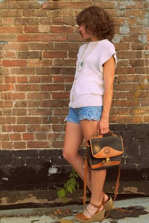 vintage levis shorts - vintage sweater - vintage dooney and bourke purse