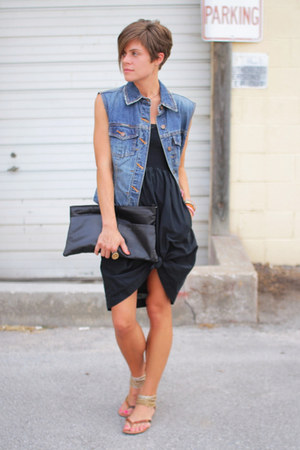 blue jacket - black Gap dress - black bag