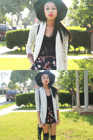 black shorts - black shirt - cream cardigan