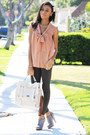 Silver-papaya-boots-gray-leggings-eggshell-satchel-bag-salmon-h-m-blouse