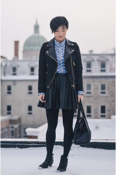 black Zara jacket - black H&M skirt