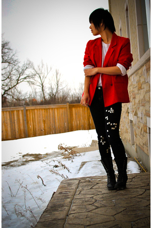 red thrift blazer - beige Urban Outfitters shirt - black DIY jeans - black Forev