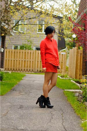 black Spring boots - red H&M sweater - red Ralph Lauren shirt - red Smart Set sk