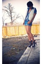white Forever21 vest - blue Forever21 shorts - gray Forever21 shoes - gray Forev