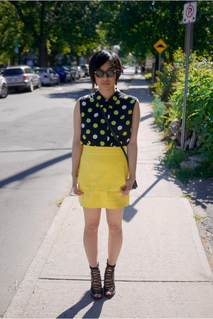 yellow Zara skirt - chartreuse thrifted blouse - black gmarket sandals