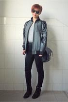 heather gray Taobao jacket - black Topshop boots - black H&M jeans