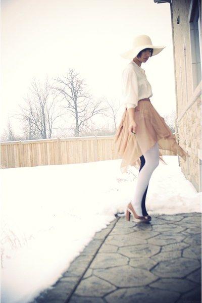 beige Smartset hat - beige vintage dress - white Ebay tights - white vintage blo