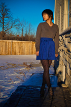 gray Old Navy shirt - blue H&M skirt - black thrift tights - gray Forever21 shoe