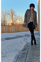 Forever21 coat - beige Michael Kors sweater - black DIY jeans - black Forever21