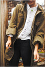 Olive-green-urban-outfitters-coat-white-thrifted-shirt-black-forever21-jeans