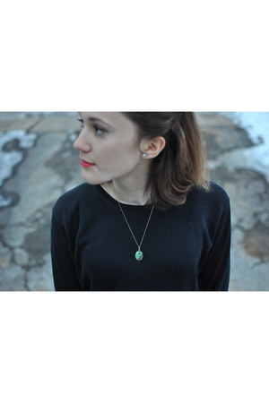 turquoise handmade necklace - silk and cotton Jcrew shirt