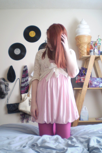 pink Forever 21 dress - pink American Eagle tights - white Rue 21 sweater