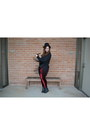 Black-tba-shoes-boots-black-h-m-hat-ruby-red-black-milk-clothing-leggings