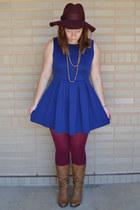 maroon Forever 21 hat - tawny Aldo boots - blue Forever 21 dress