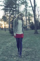 red t-shirt American Apparel dress - dark khaki parka Loft jacket - cream lace T