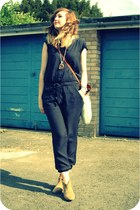 bronze Topshop boots - tawny chanel vintage bag - navy Gap romper - gold River I