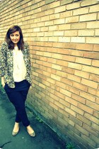 camel River Island blazer - navy Gap pants - cream Gap blouse - dark khaki stacc