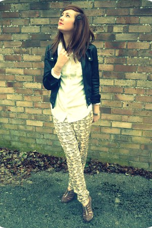 black leather Topshop jacket - tan asos heels - light yellow printed harem H&amp;M p