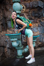 Green-backpack-eastpak-bag-aquamarine-american-apparel-shorts