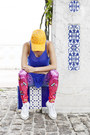 Orange-diy-cap-hat-hot-pink-trash-leggings