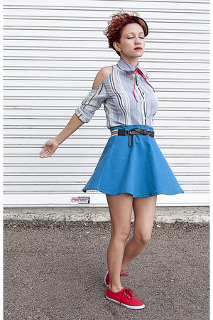 blue American Apparel skirt - white striped DIY blouse - red Shana sneakers