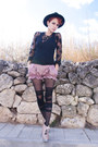 Black-vintage-hat-pink-yiddish-chutzpah-shorts