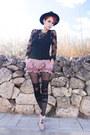 Black-vintage-hat-pink-yiddish-chutzpah-shorts
