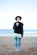 black romwe jacket - turquoise blue unitard We Love Colors leggings