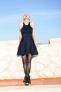 Black-ax-paris-dress-black-reebok-sneakers