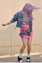 hot pink Estela Balan skirt - sky blue denim vintage jacket