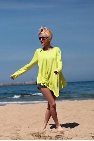 light orange as turban vintage scarf - lime green Now I Style dress