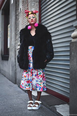 black thrifted coat - white thrifted skirt - hot pink pompom DIY earrings