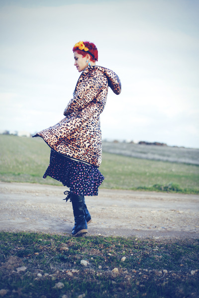 brown Romwecom coat - yellow DIY hat - navy vintage skirt