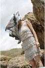 Beige-zara-dress-heather-gray-vintage-scarf