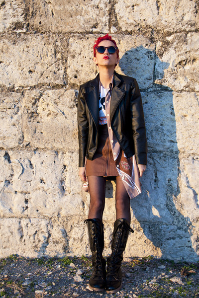 black leather no brand jacket - brown H&M skirt