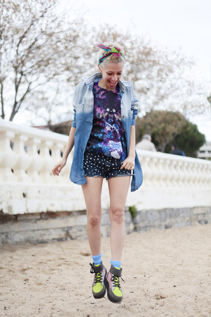 navy denim DIY shorts - chartreuse asos boots - light blue denim Chicwish shirt