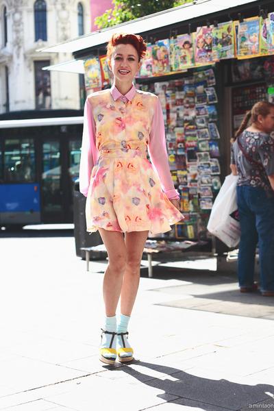 bubble gum thrifted dress - light blue We Love Colors socks