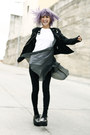 Black-vintage-dress-black-ax-paris-jacket-black-zara-pants