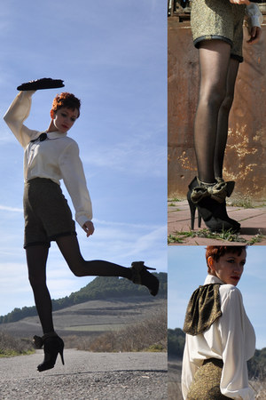 black aminta shorts - gold aminta cape - off white vintage blouse - black bow am